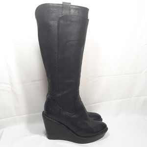 FRYE Paige Black Leather Tall Wedge Boots Size 7.5